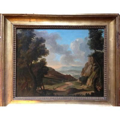 Neoclassical Landscape Painting. Oil On Canvas Late 18th, Early 19th Century