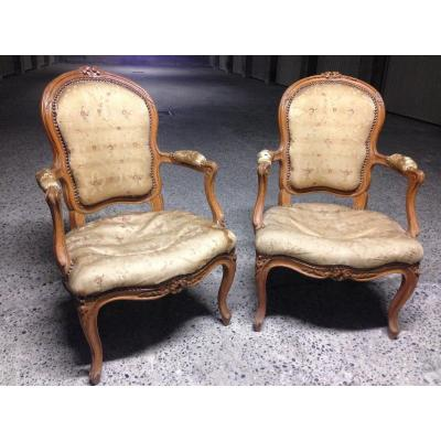 Pair Of Convertible Armchairs, Louis XV Period, Stamped Etienne Meunier. + .....