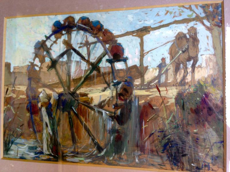 Great Orientalist Gouache. The Big Water Wheel.-photo-2