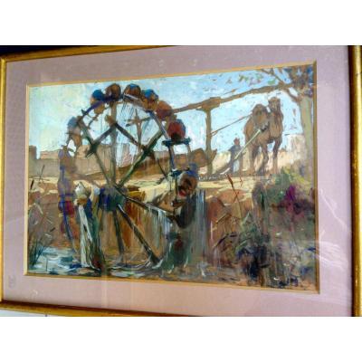 Great Orientalist Gouache. The Big Water Wheel.