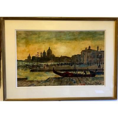 The Quai Des Esclavons In Venice. Roland Oudot.