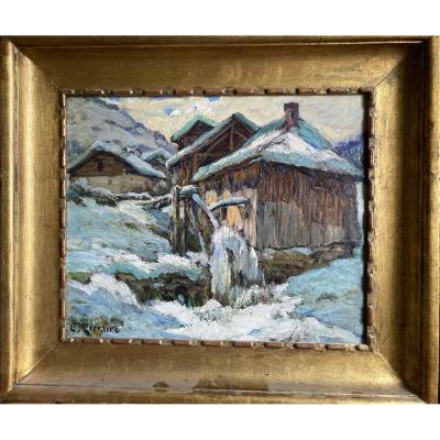 Snowy Village. Clovis Terraire. Nineteenth Century.