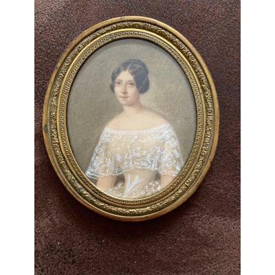 Miniature. Portrait Of Young Woman Mid XIXth Century.
