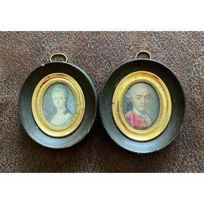 Pair Of 18th Century Miniatures. Couple.