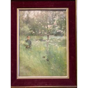 Jeune Fille Au Bouquet  Champêtre Près d' Un Cerisier En Fleurs. Pastel  Signé Et Daté 88.