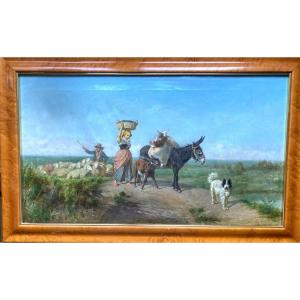 XIXth Italian Painting. Country Scene Annotations And Date 1885, In Ink, Palizzi.