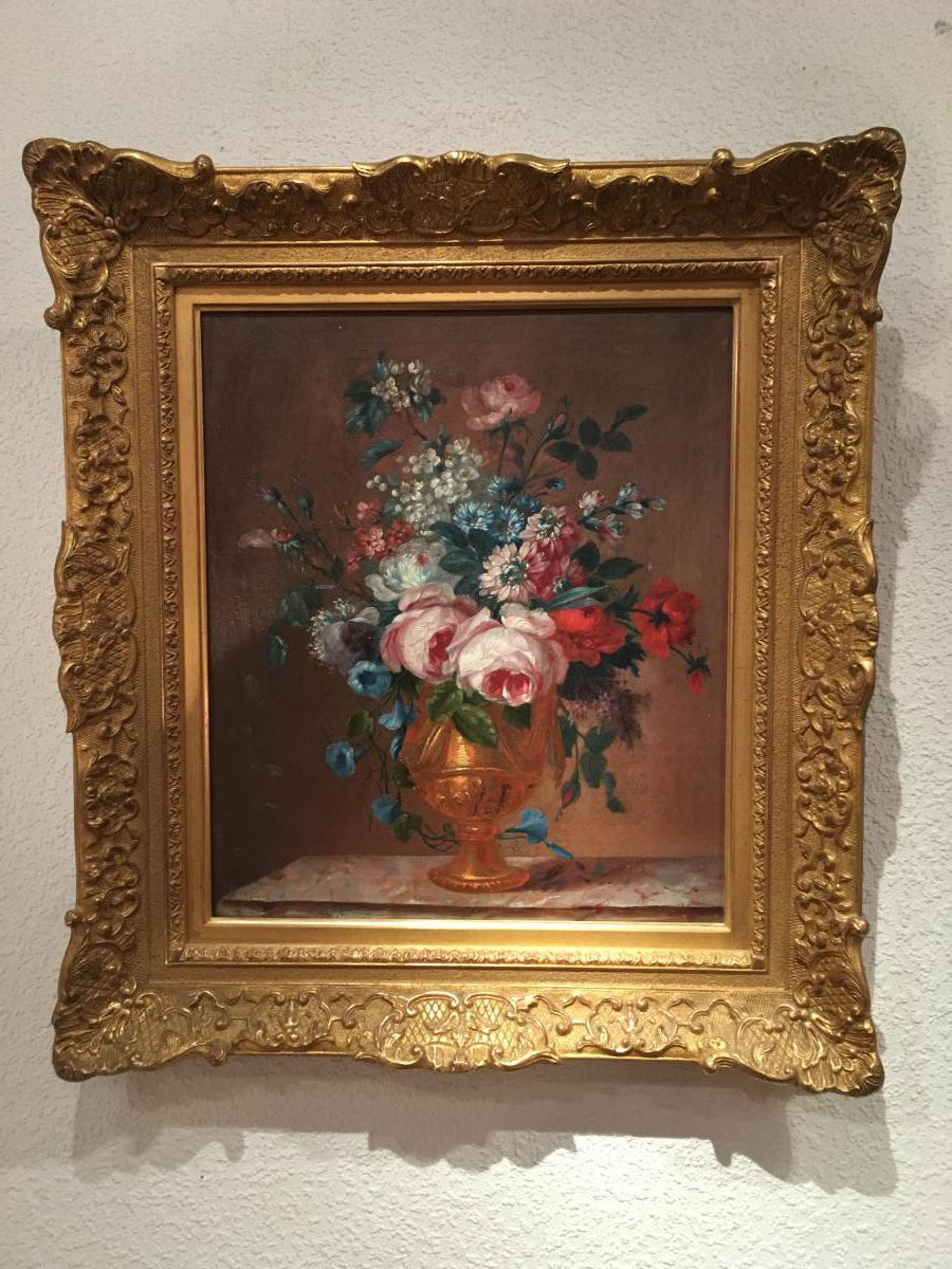 Oil On Canvas Flower Bouquet In The Taste Of Late Eighteenth 19th Time