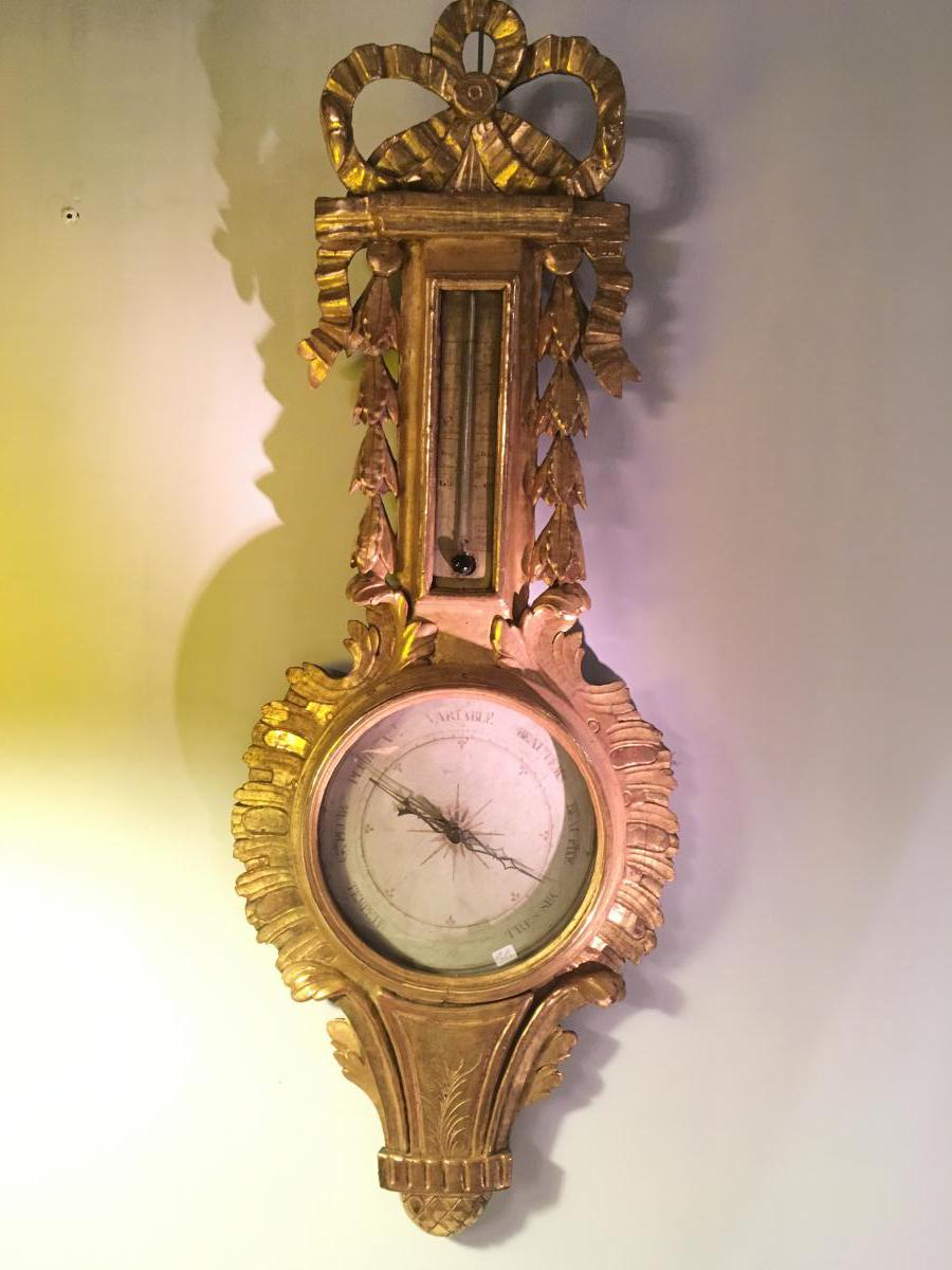 """in Large Barometer Golden Wood XVIII Siecle"""