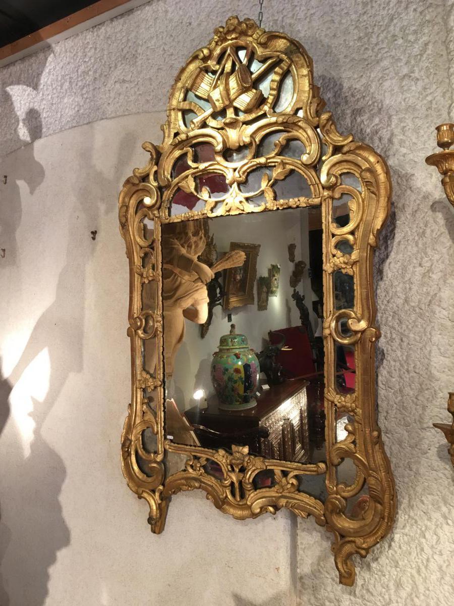 """""""Miroir de Beaucaire En Bois Doré """" Époque XVIII siècle"""