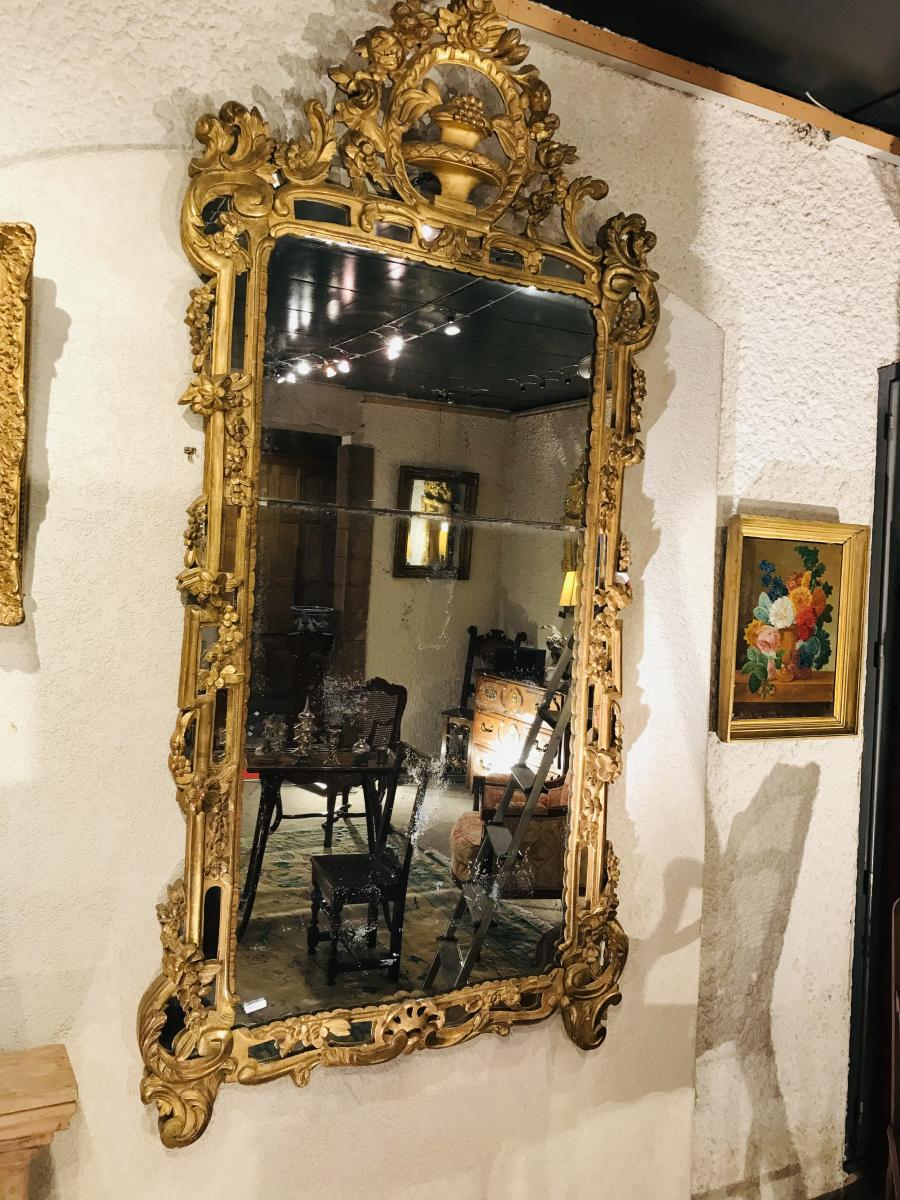 Large Mirror Ice Beads, Golden Wood Louis XV Period