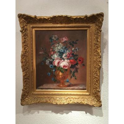 Huile Sur Toile Bouquet De Fleurs Dans Le Goût Du XVIII ème époque Fin 19 ème