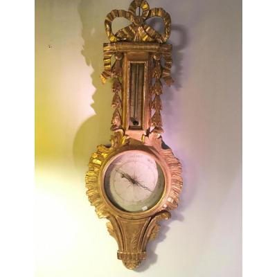 """in Large Barometer Golden Wood XVIII Siecle"""