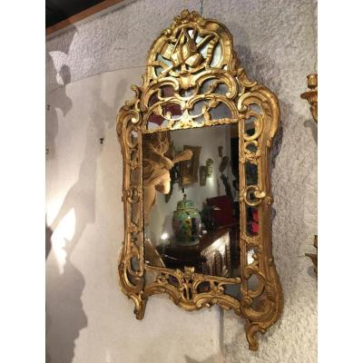 """xviii Century Provençal Mirror In Golden Wood"""