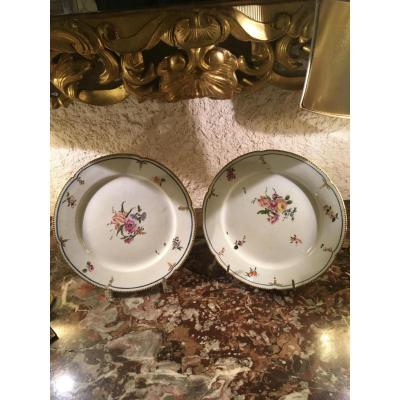 """plates Pair Of Porcelain, Paris End XVIII"""
