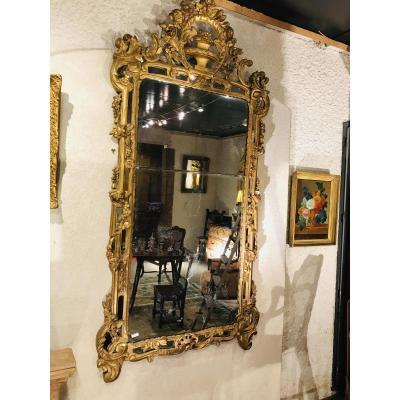 Grand Miroir à Parecloses De Glaces,bois Doré Epoque Louis XV