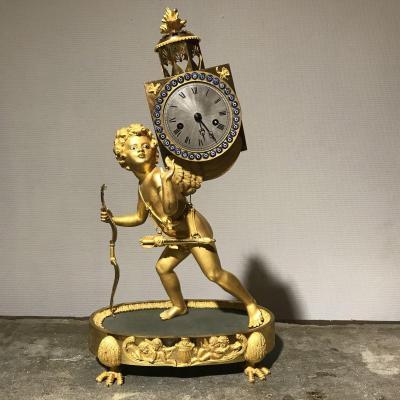 Pendule Bronze Doré «La Lanterne Magique «Epoque Empire «