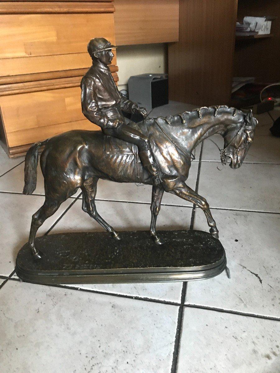 "TRES BEAU bronze ""jockey""  par Pierre-Jules MÈNE (1810-1879) -photo-5"