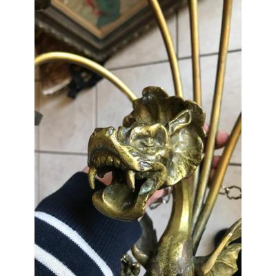 Spectaculaire Et Rare Paire Appliques Bronze Dragon