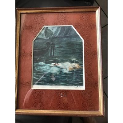 """Ophélie"""" superbe aquarelle symboliste signé"""