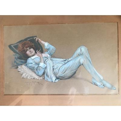Maurice Millière (1871-1946). Femme Allongée, Fumant Une Cigarette Dessin Original