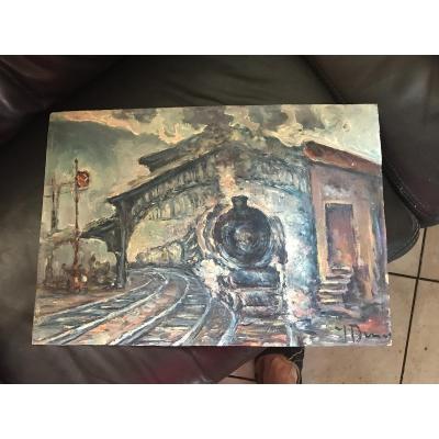 """Huile Début 20 -ème Impressionniste """" train quittant la gare"""""""