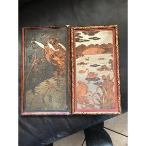 Rare Paire De Plaques Métal 1900 Symboliste 1900 Art Nouveau