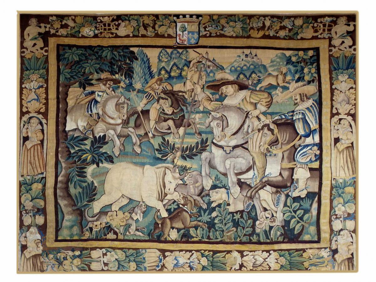 Tapisserie Audenarde Scéne De Chasse Epoque Louis XIII