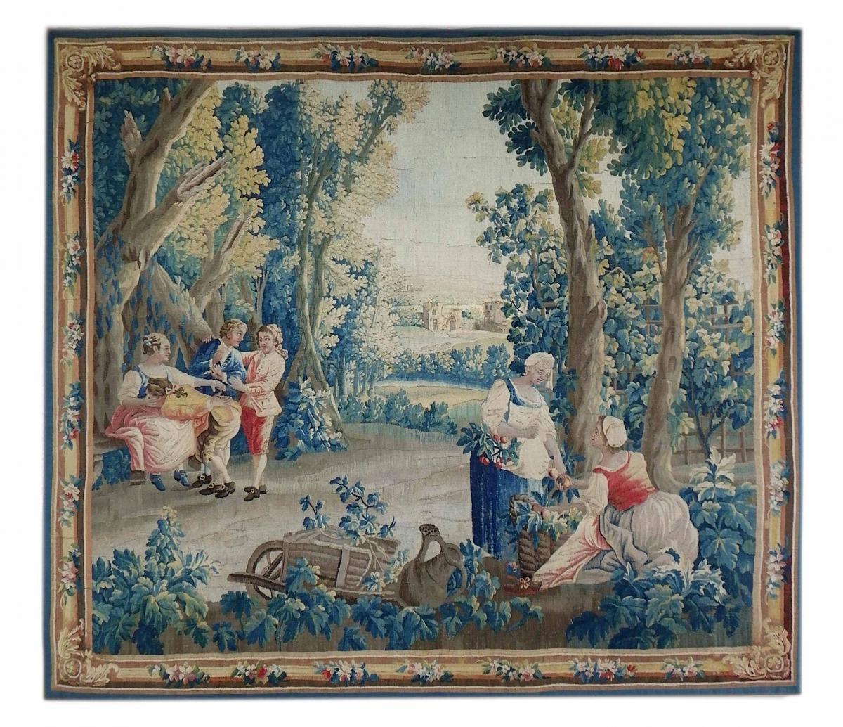 Tapisserie Aubusson XVIII Scène Bucolique