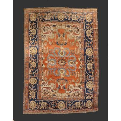Carpet Heriz Silk Period Kadjar Dynasty Around 1850