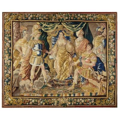 Aubusson Tapestry XVII Century Aeanea And Achats Presenting Dido