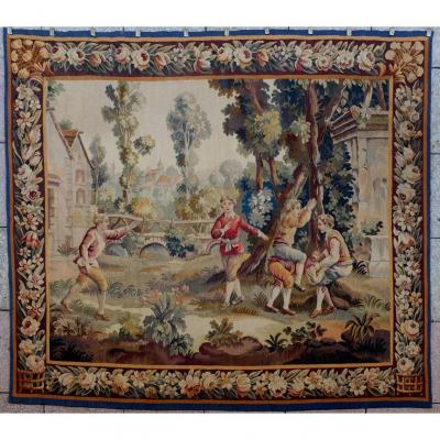 Aubusson Tapestry hand woven around 1900 from a cardboard box by Huet. The game of hide and seek. Very beautiful colours. Beautiful borders. Possibility to see the tapestry in Avignon or Paris. We guarantee you a clean tapestry, in good condition, lined with its Velcro hanging system. Commitment to a full refund with transport if the Tapestry does not conform to the above mentioned guarantees. Do not hesitate to consult my site and its opinions. Our company has been in existence for more than 25 years. Free shipping in France<br /> &nbsp;