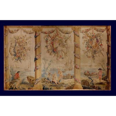 Aubusson Tapestry XVIII Century Marine Scene