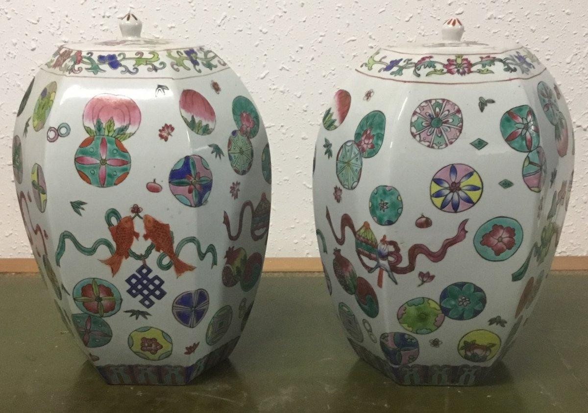 Paire De Vases Porcelaine Chinoise
