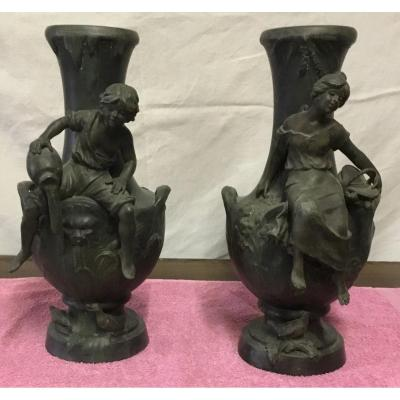 Paire De Vase De  Moreau