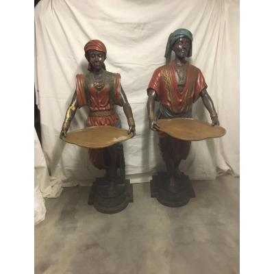 Pair Of Nubian In Polychrome Wood