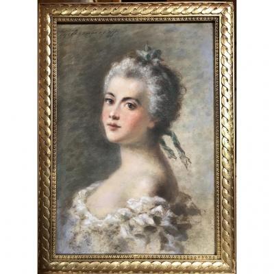 Pastel Portrait d'une Jeune Femme