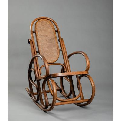 Rocking-chair En Bois Courbé Et Cannage