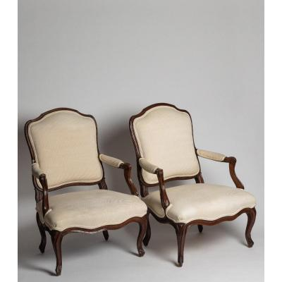 Pair Of Flat Back Armchairs
