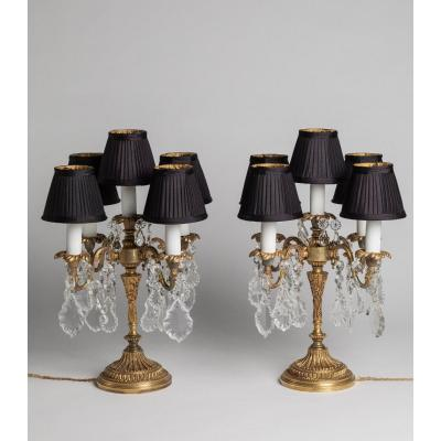 Pair Of Girandoles In Gilt Bronze And Crystals