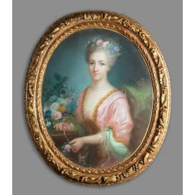 Pastel Représentant Le Portrait d'Une Jeune Femme