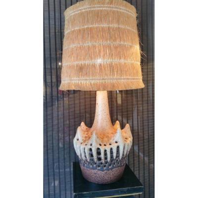 Lampe En Céramique Avec Son Abat Jour En Cordes