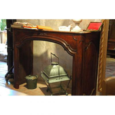 Fireplace Walnut Period Louis XIV Returns With Her In Woodwork, Provenance: South West