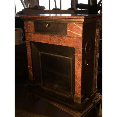 Blackened Sheet Metal, Brass And Marble Fireplace