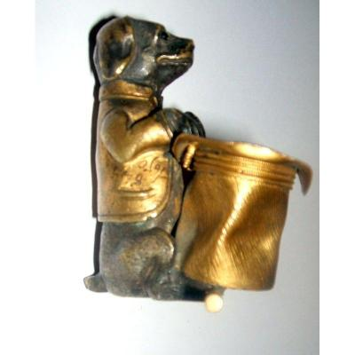 Dog Hat: Gilt Bronze And Brown Patina