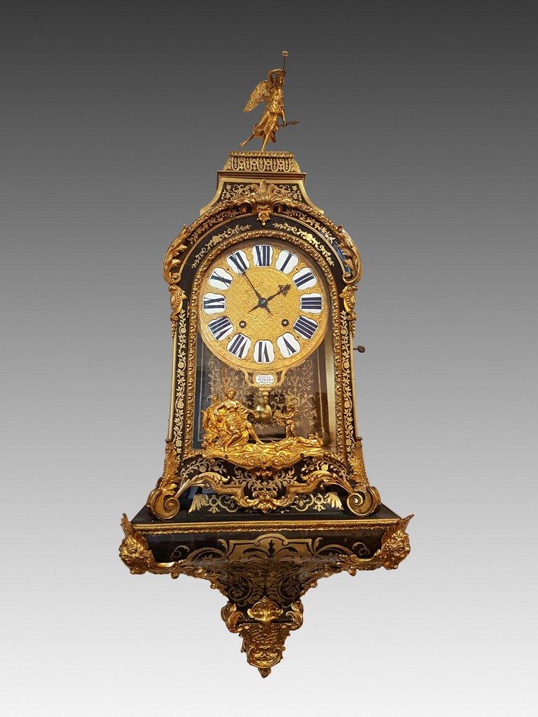 Cartel Et Sa Console Marqueterie Boulle  Et Bronzes Epoque Louis XIV