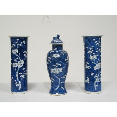Ensemble De Trois Vases, Porcelaine Chine XIX°