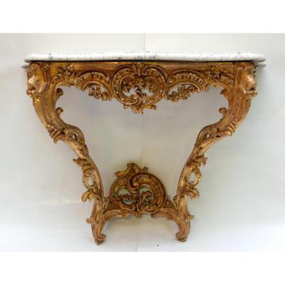Console d'Applique Bois Dore Epoque Louis XV