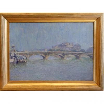 Pont De La Concorde Paris Huile Sur Toile A. Hubert -epoque Début XX°