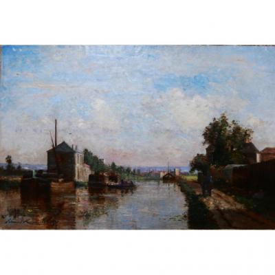 Paysage, Région Parisienne Huile Sur Toile Signée Edmond Renault