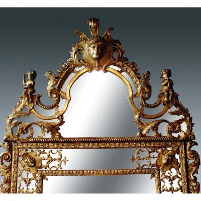 Miroir à Fronton Bois Doré Aux Anges Musiciens Epoque Régence